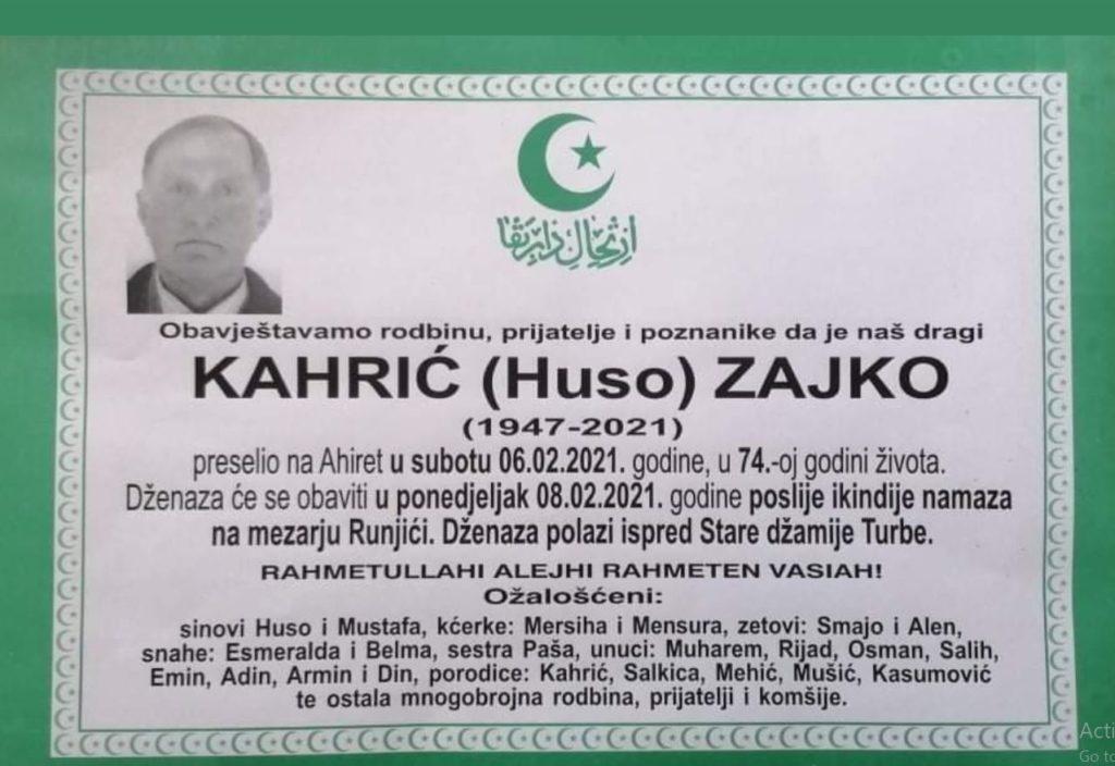 Preminuo Kahrić Zajko