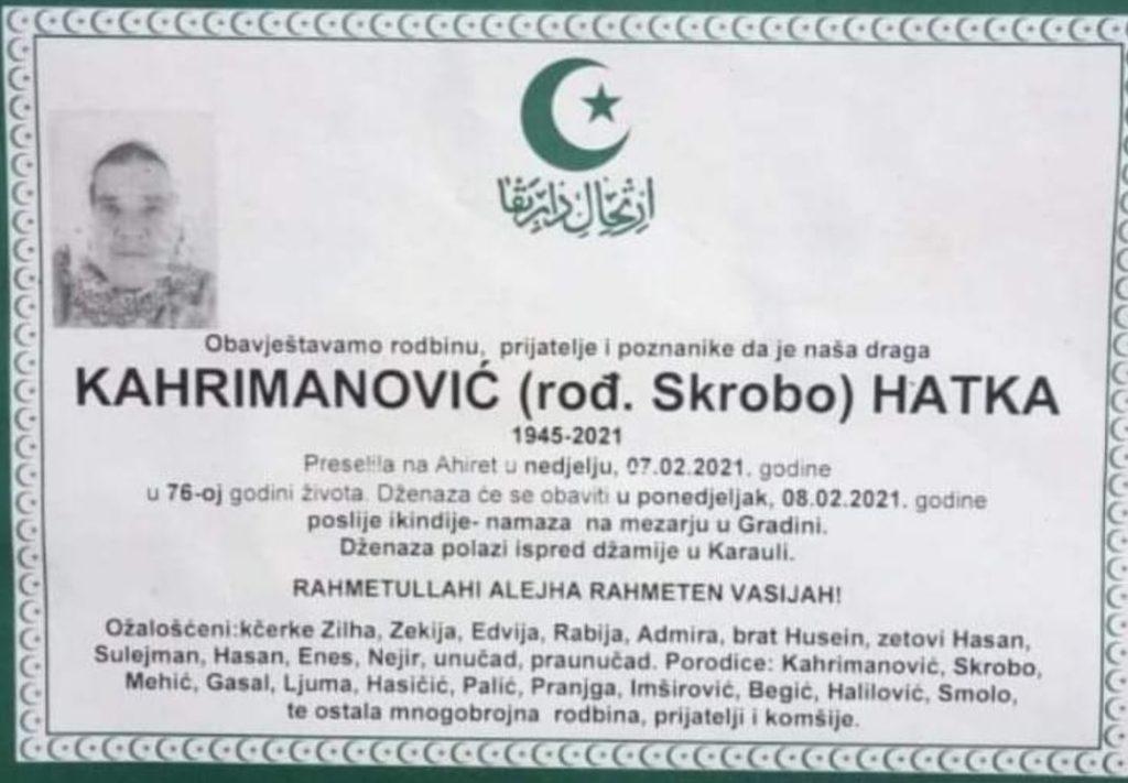 Preminula Kahrimanović Hatka
