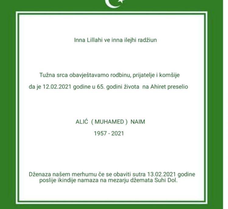 Preminuo Alić Naim