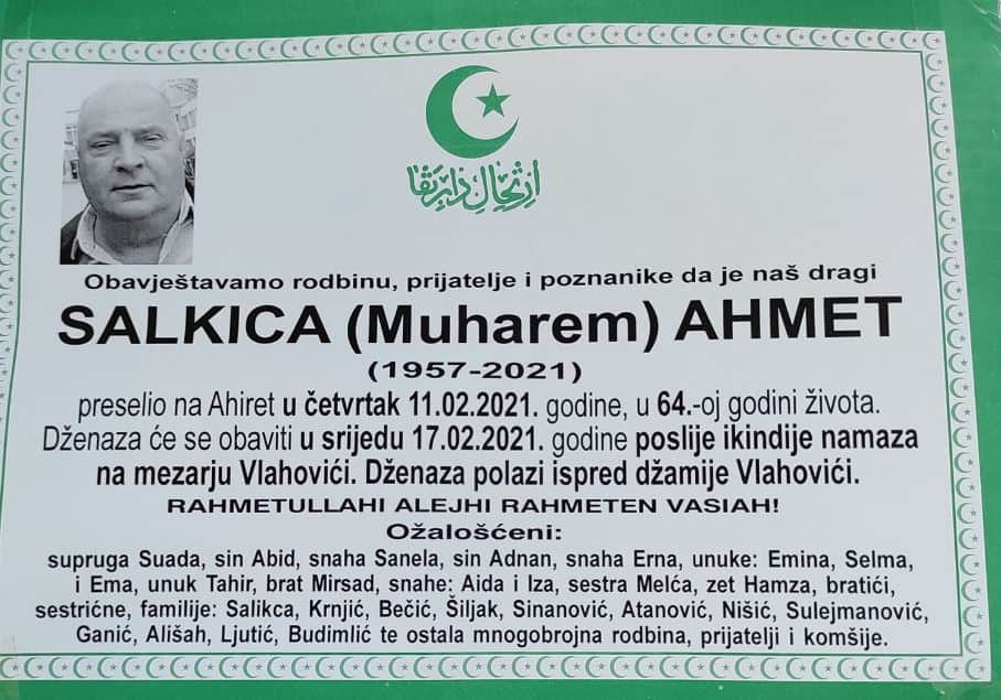 Preminuo Salkica Ahmet