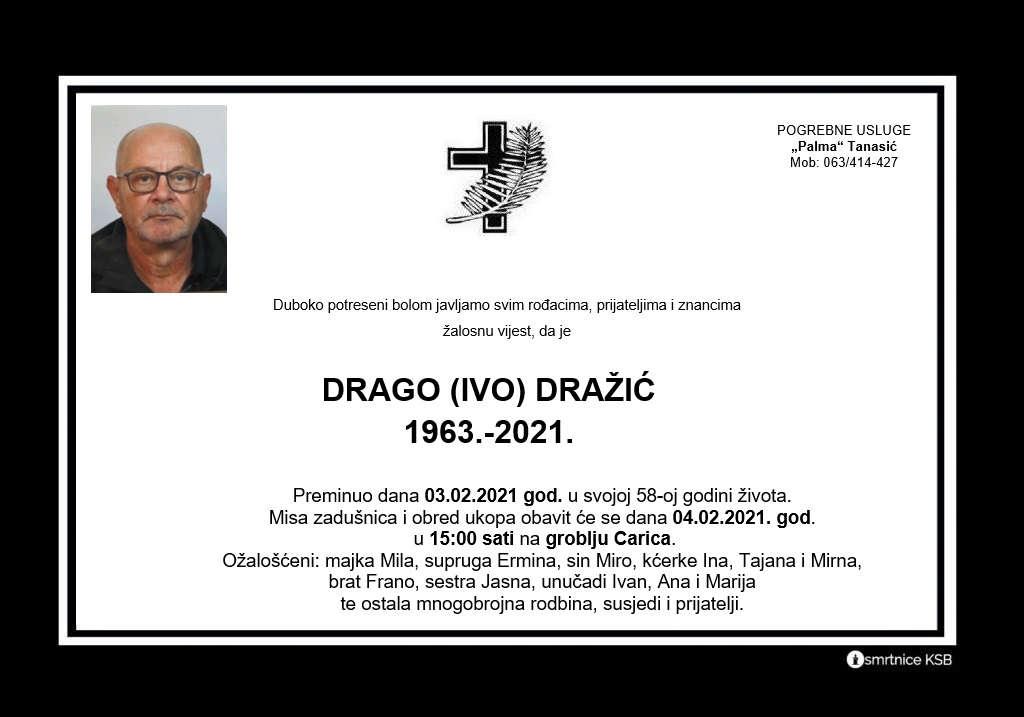 Preminuo Drago Dražić