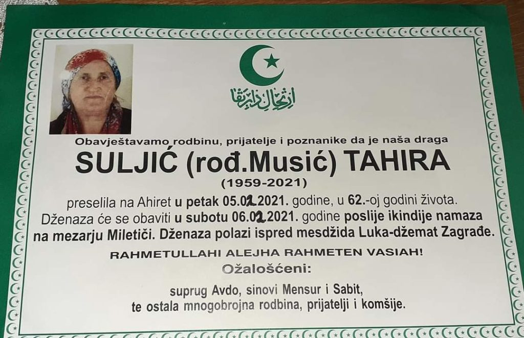Preminula Suljić Tahira