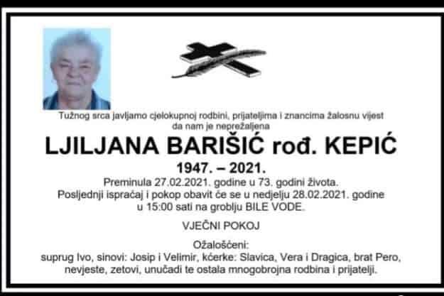 Preminula Ljilja Barišić