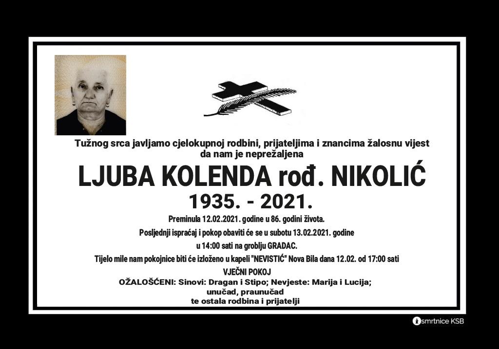 Preminula Ljuba Kolenda