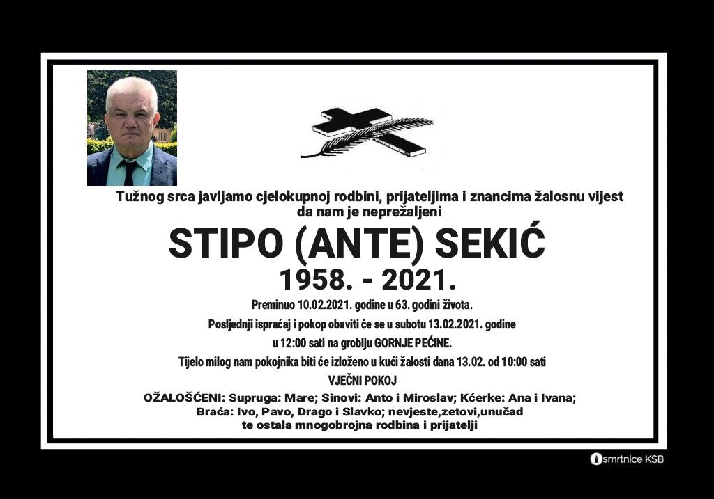 Preminuo Stipo Sekić