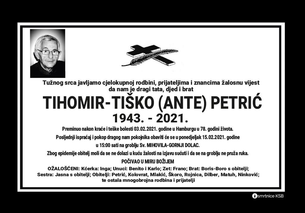 Preminuo Tihomir - Tiško Petrić