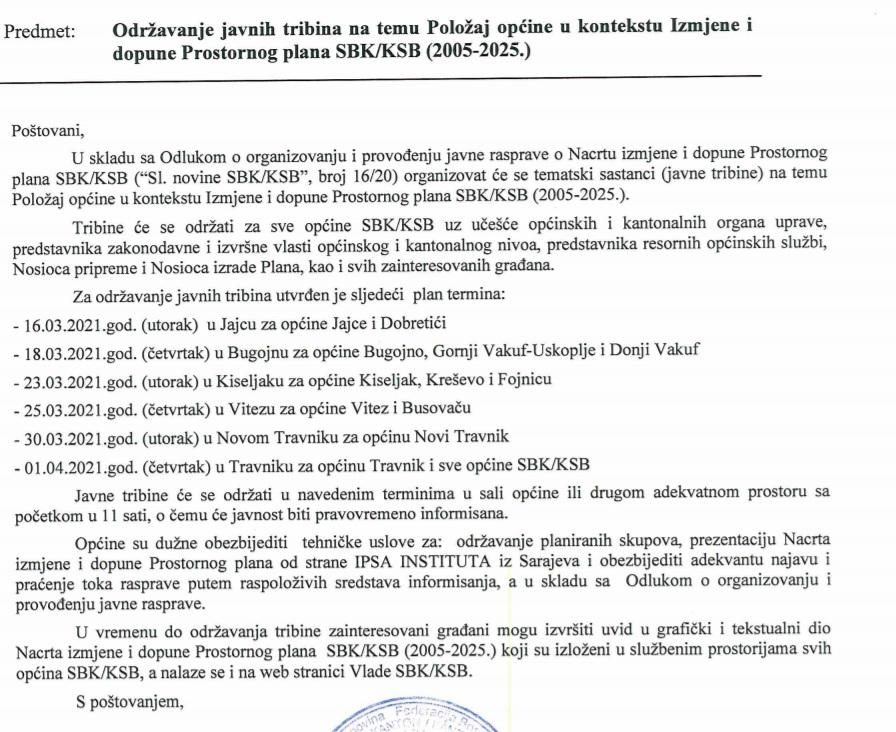 Raspored Javnih rasprava na Nacrt izmjene i dopune Prostornog plana SBK 2005 - 2025