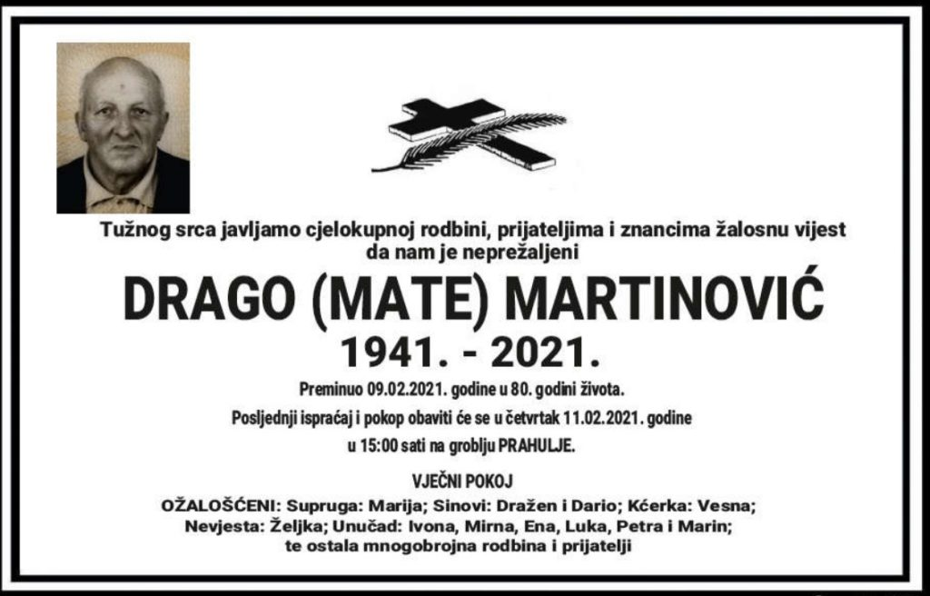 Preminuo Drago Martinović