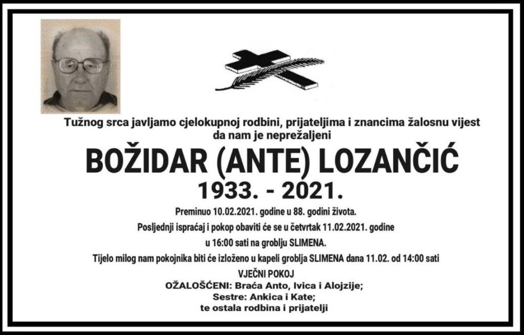 Preminuo Božidar Lozančić