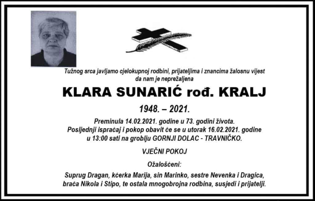 Preminula Klara Sunarić