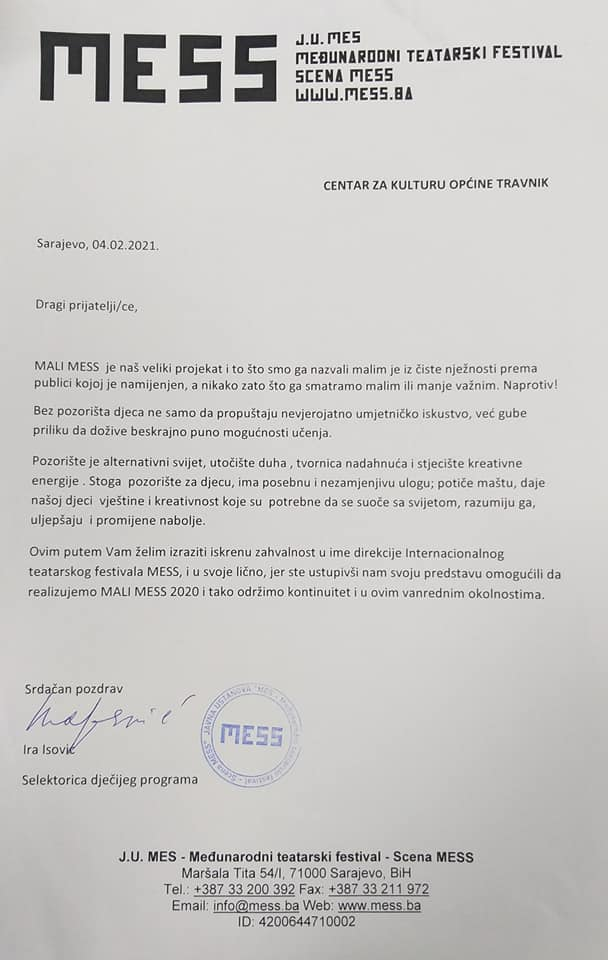 Saradnja Centra za kulturu općine Travnik i MESS-a
