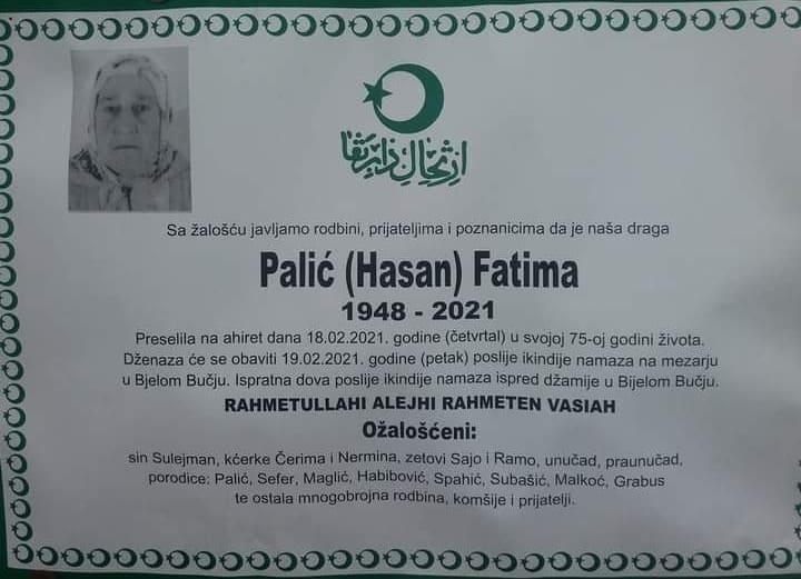 Preminula Palić Fatima