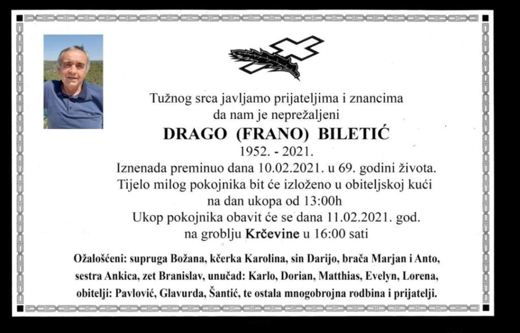 Preminuo Drago Biletić