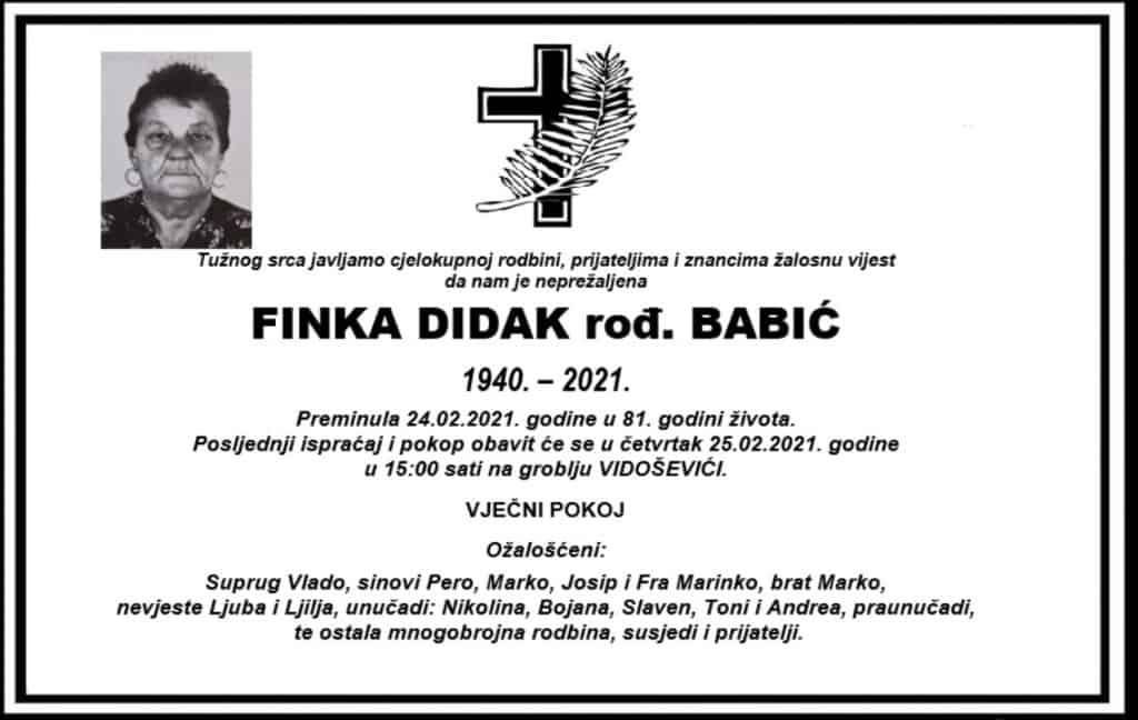 Preminula Finka Didak