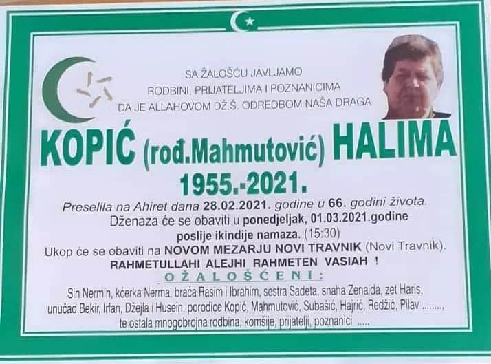 Preminula Kopić Halima