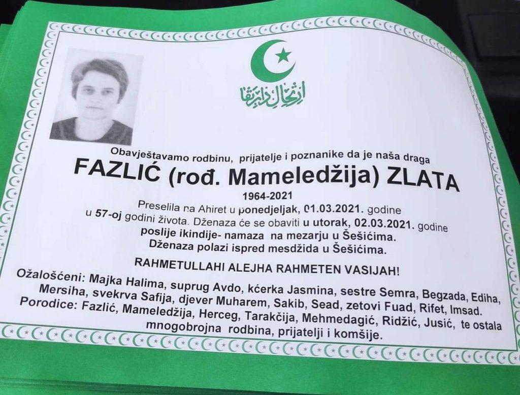 Preminula Zlata Fazlić