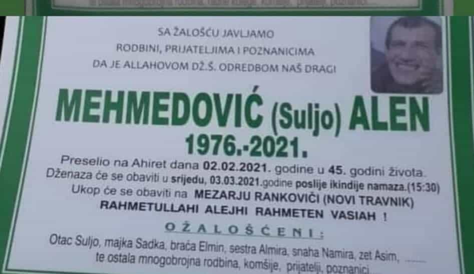 Preminuo Mehmedović Alen