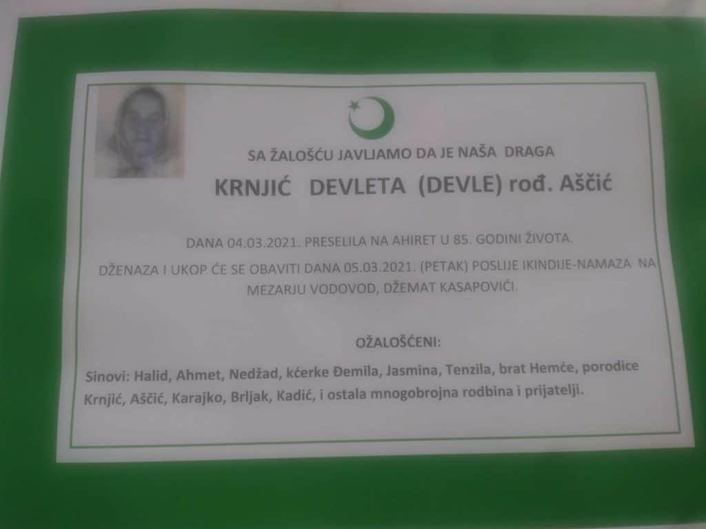 Preminula Devleta Krnjić
