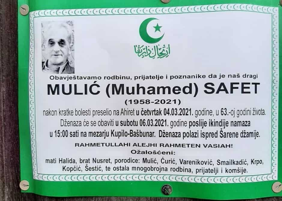 Preminuo Safet Mulić