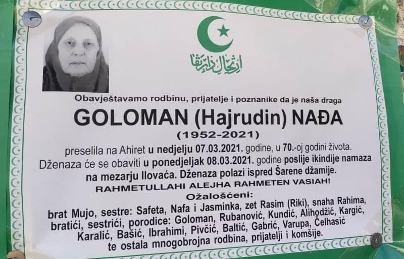 Preminula Nađa Goloman