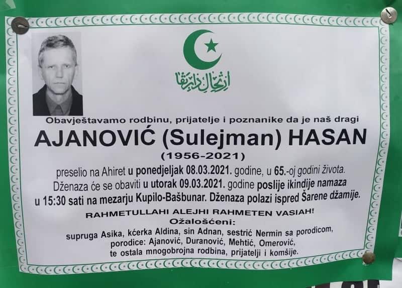 Preminuo Ajanović Hasan