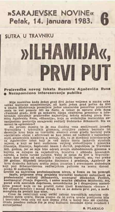 "Rusmir Agačević Rus ""Ilhamija"" / Kulturni fenomen djelo mladosti i entuzijazma..."