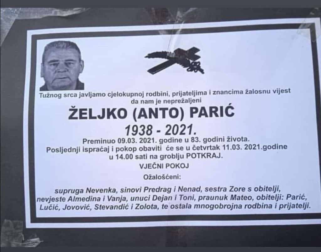 Preminuo Željko Parić