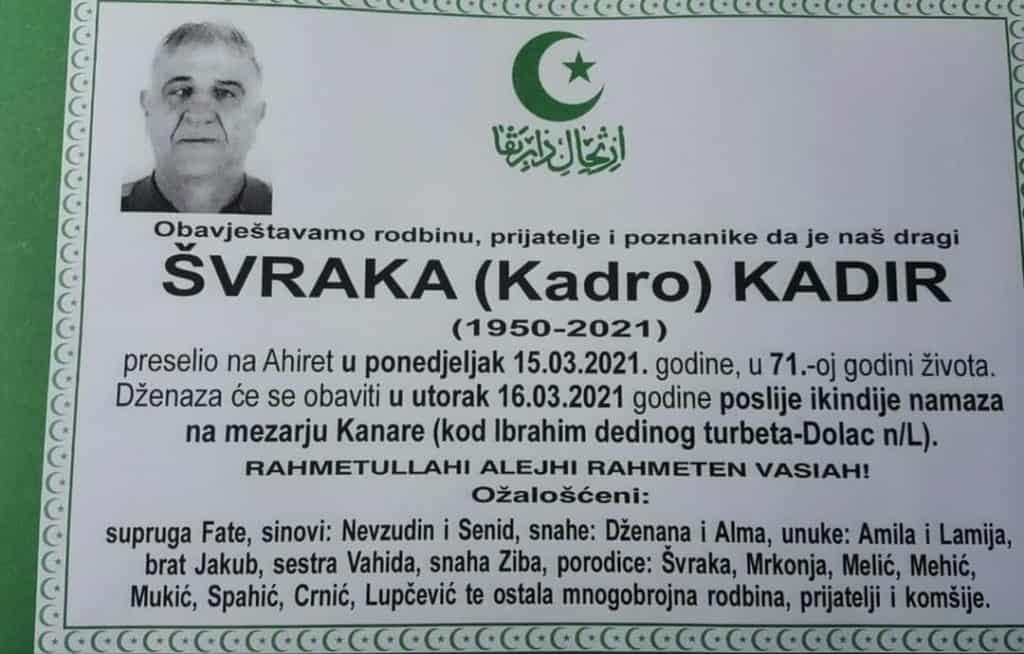Preminuo Kadir Švraka