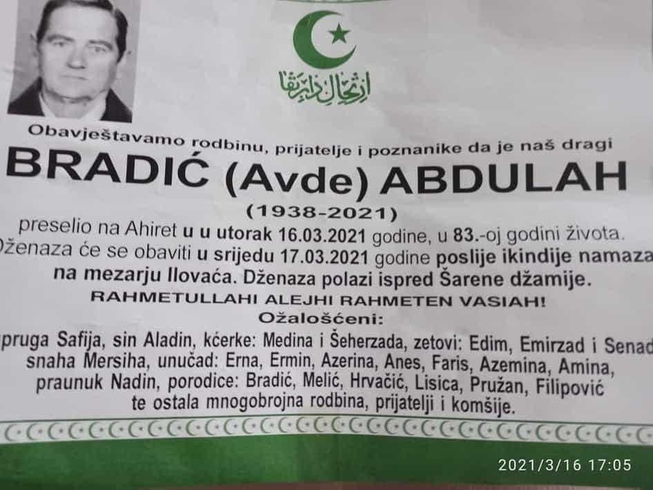 Preminuo Abdulah Bradić