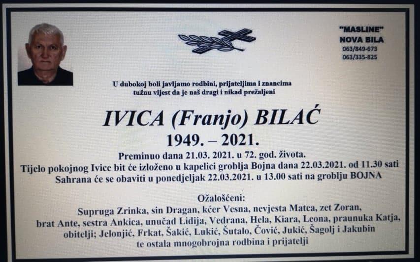 Preminuo Ivica Bilać