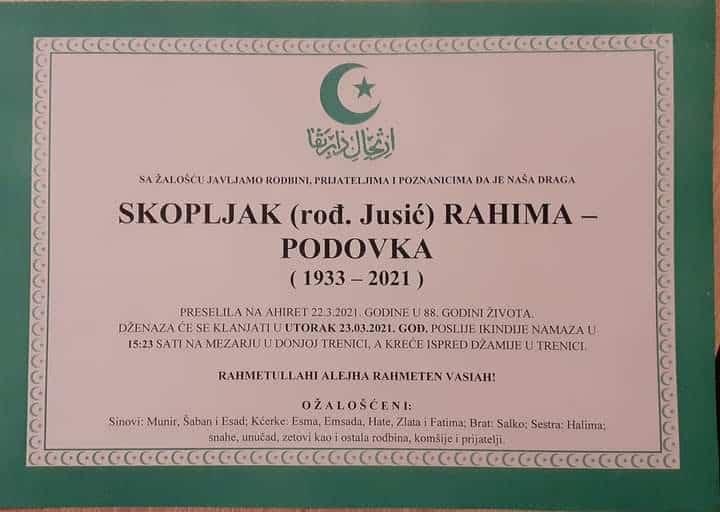 Preminula Rahima Skopljak