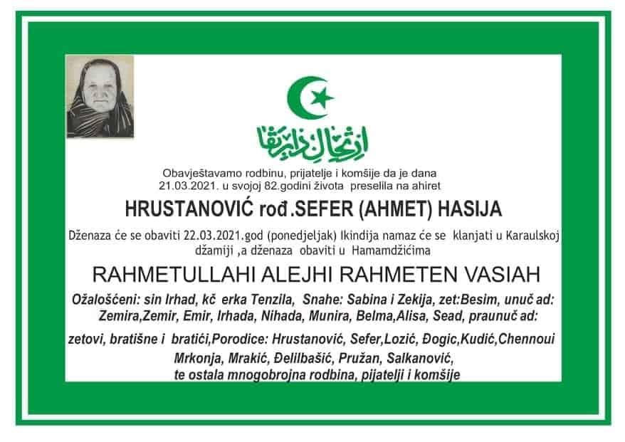 Preminula Hrustanović Hasija