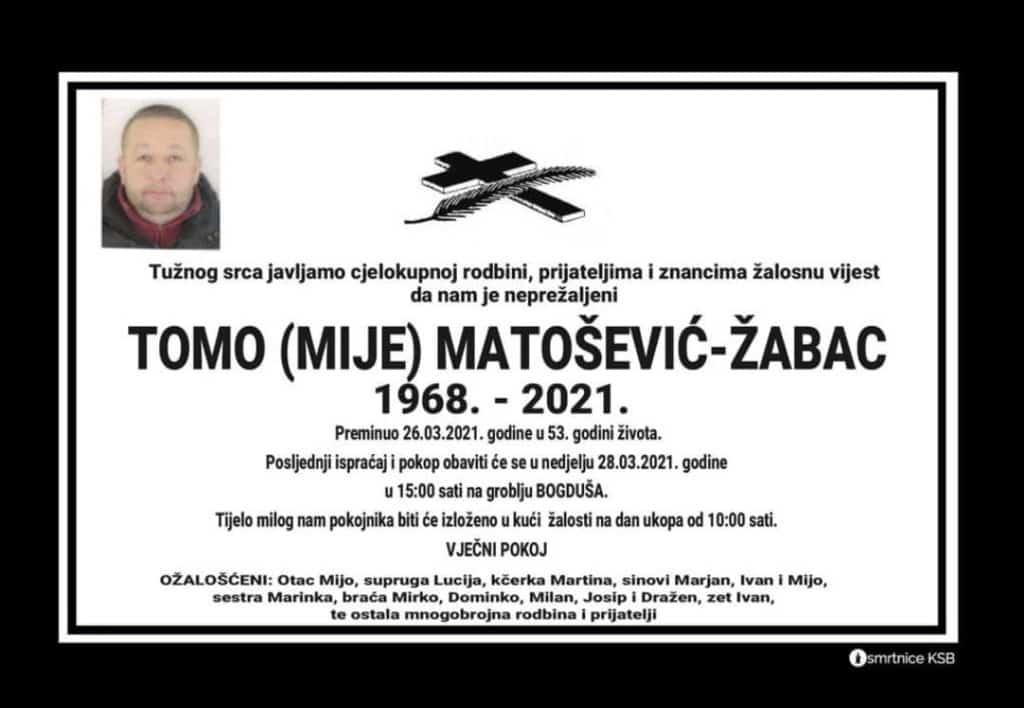 Preminuo Tomo Matošević - Žabac