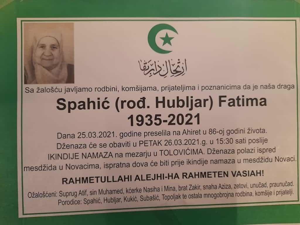 Preminula Fatima Spahić
