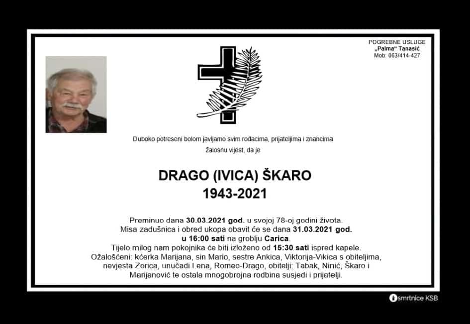 Preminuo Drago Škaro