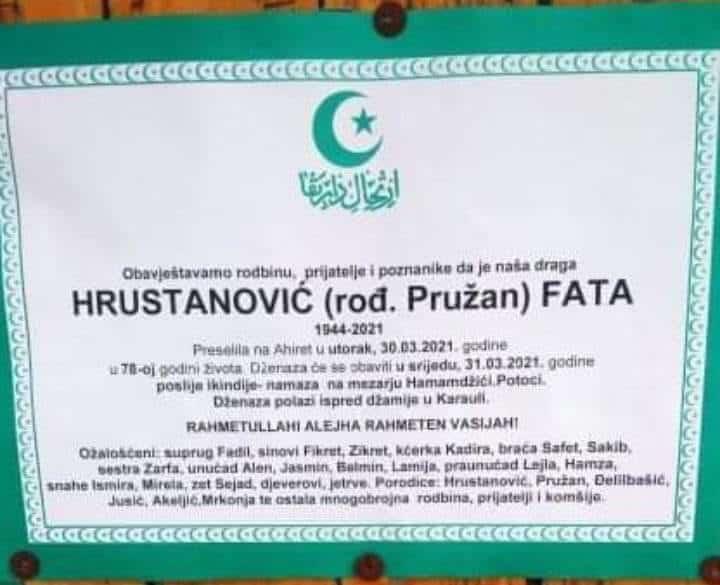 Preminula Hrustavnović Fata
