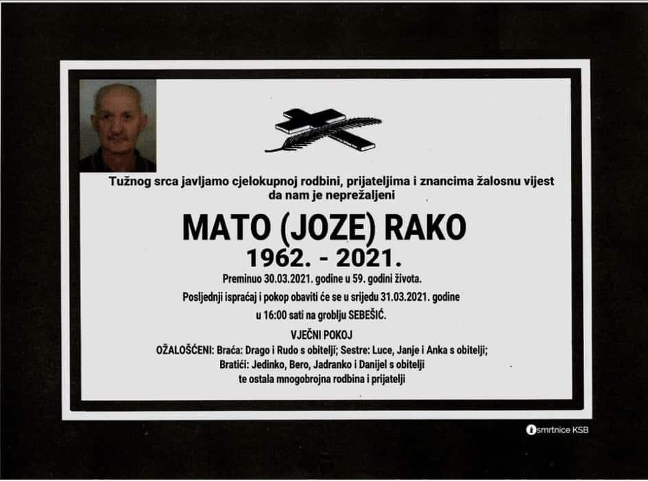 Preminuo Mato Rako