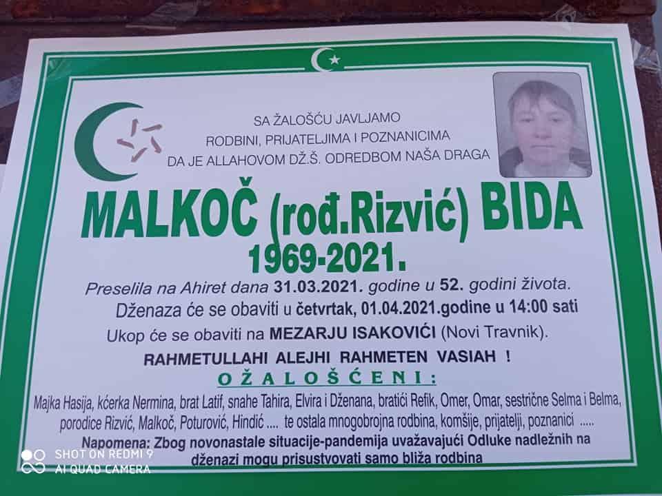 Preminula Malkoč Bida