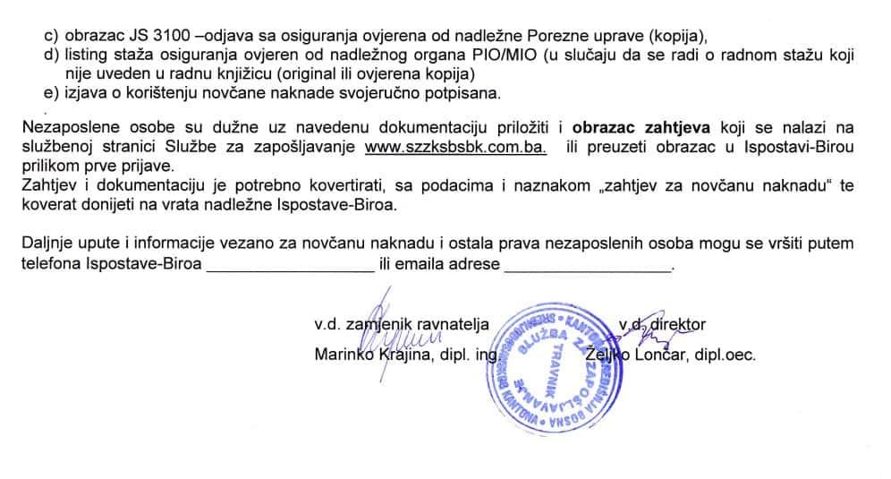 Važna obavijest za korisnike usluga Službe za zapošljavanje SBK