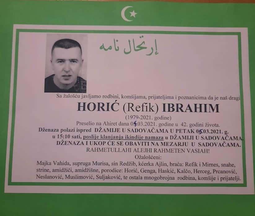 Preminuo Horić Ibrahim