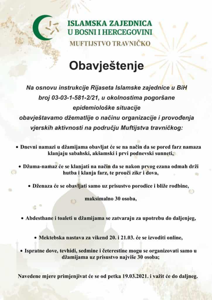 Instrukcije Muftijstva travničkog o načinu organizacije vjerskih aktivnosti