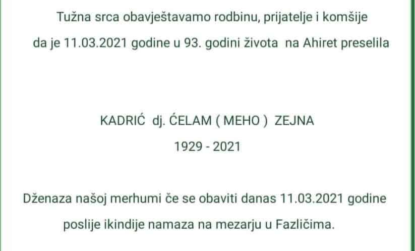 Preminula Kadrić Zejna