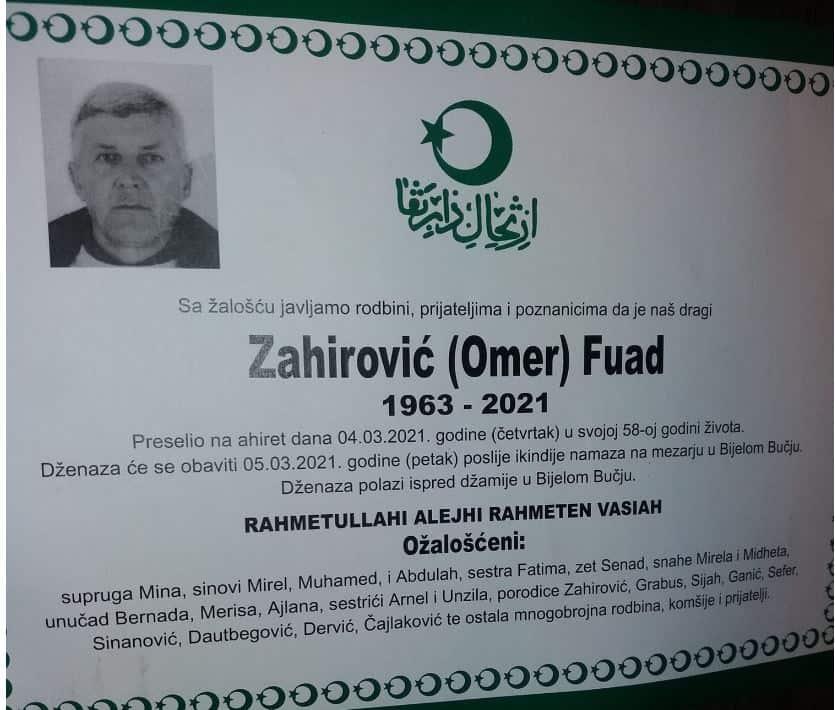 Preminuo Zahirović Fuad
