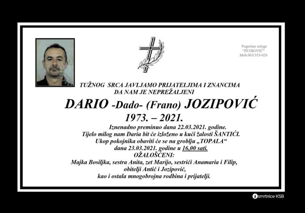 Preminuo Dario Dado Jozipović