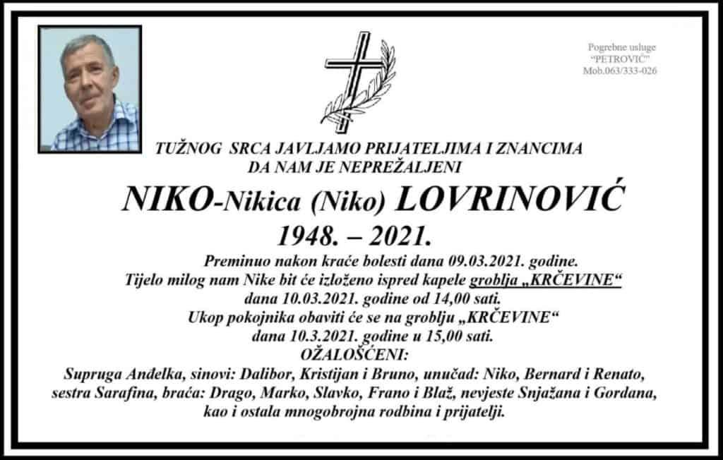 Preminuo Niko-Nikica Lovrinović