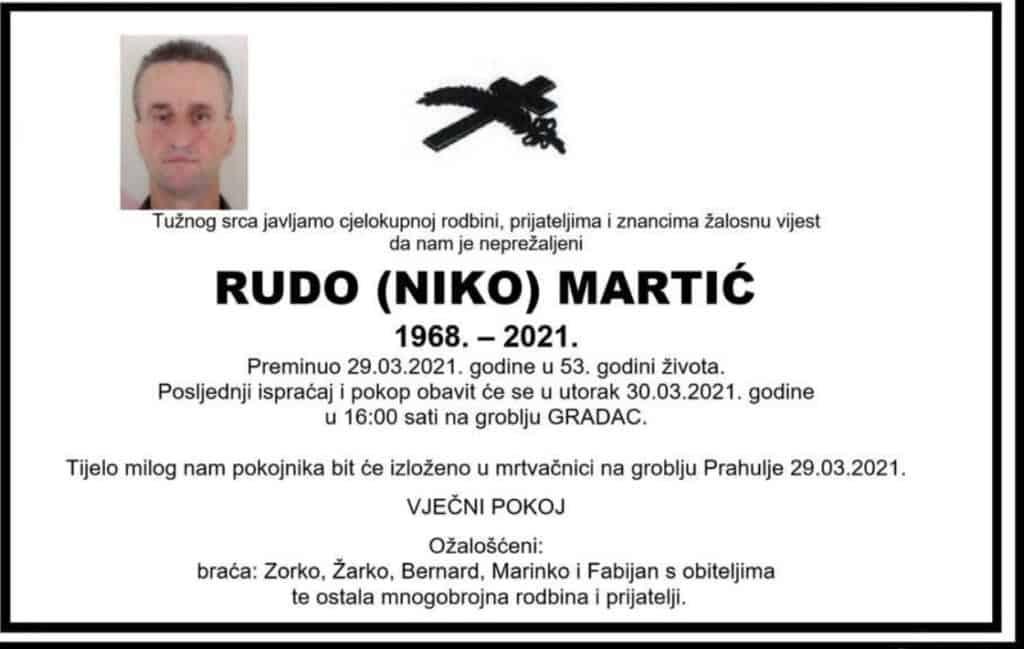 Preminuo Rudo Martić