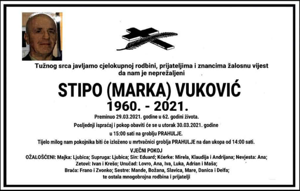 Preminuo Stipo Vuković