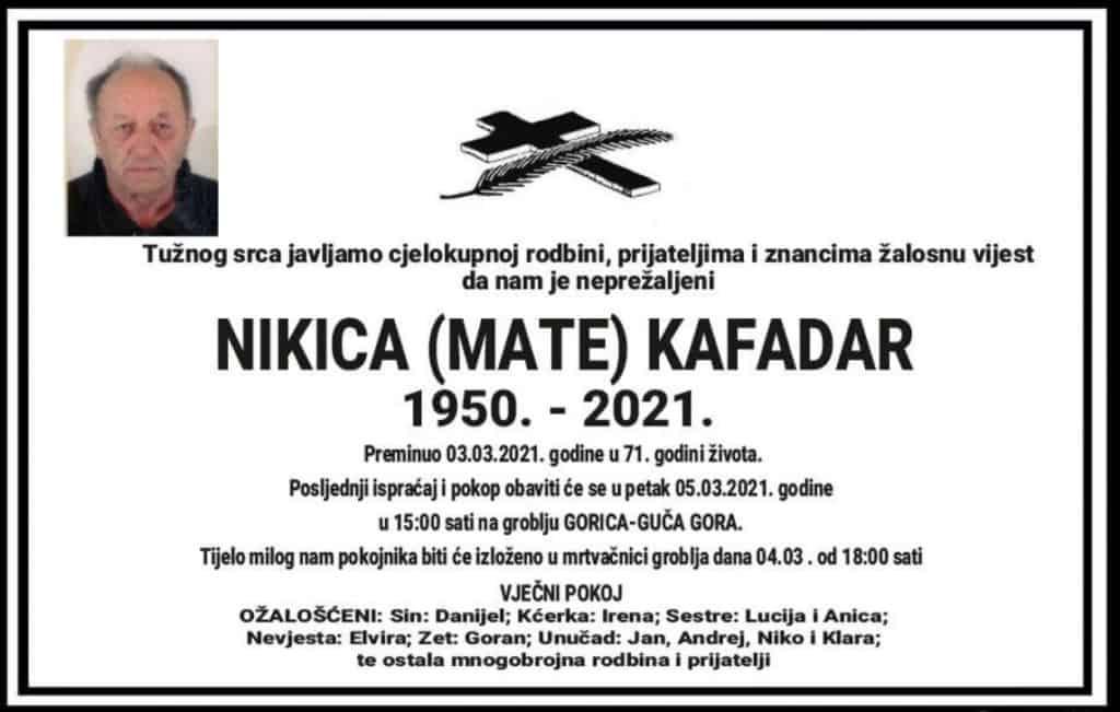 Preminuo Nikica Kafadar