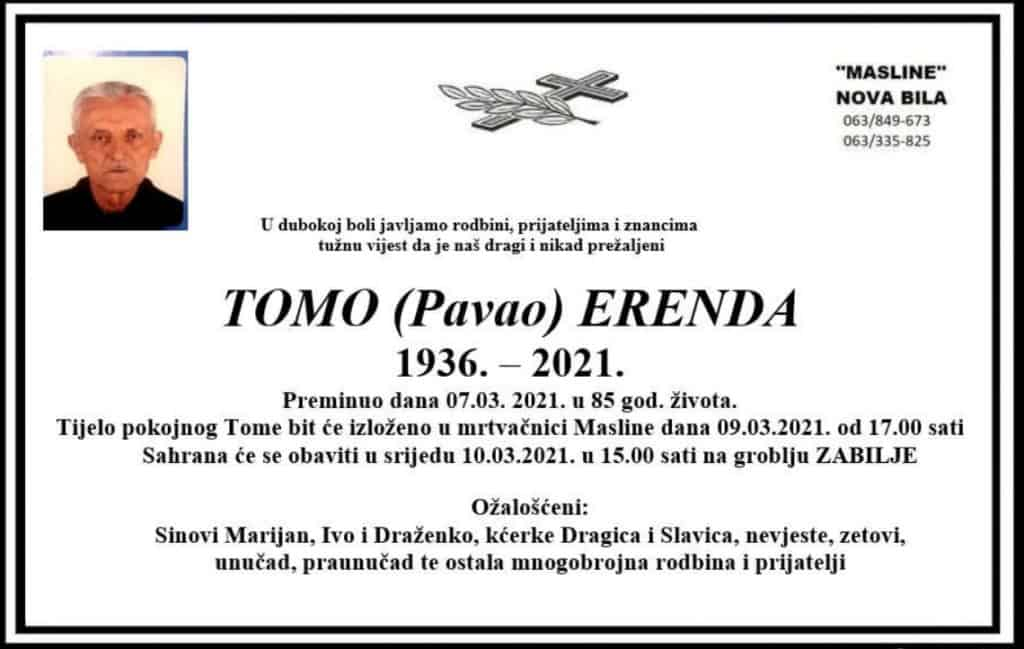 Preminuo Tomo Erenda