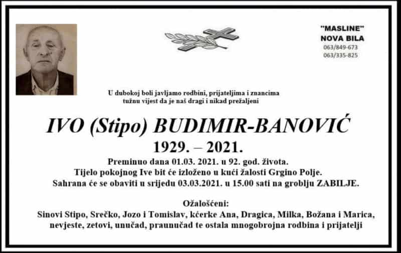 Preminuo Ivo Budimir-Banović